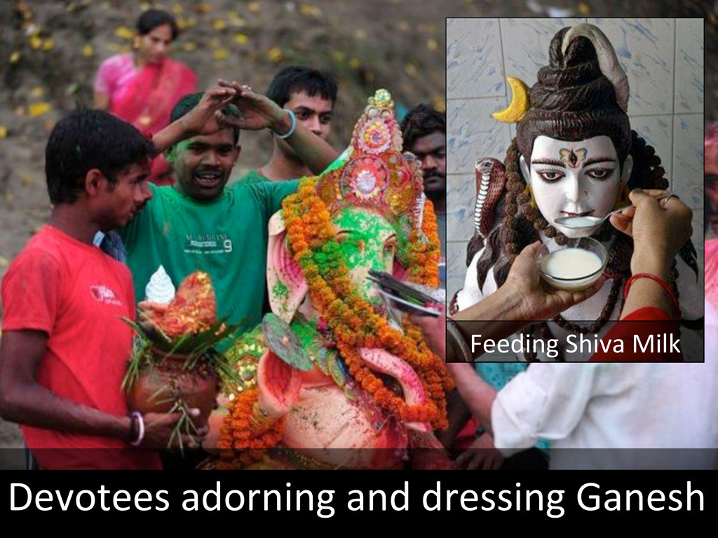 Devotees adorning and dressing Gane...