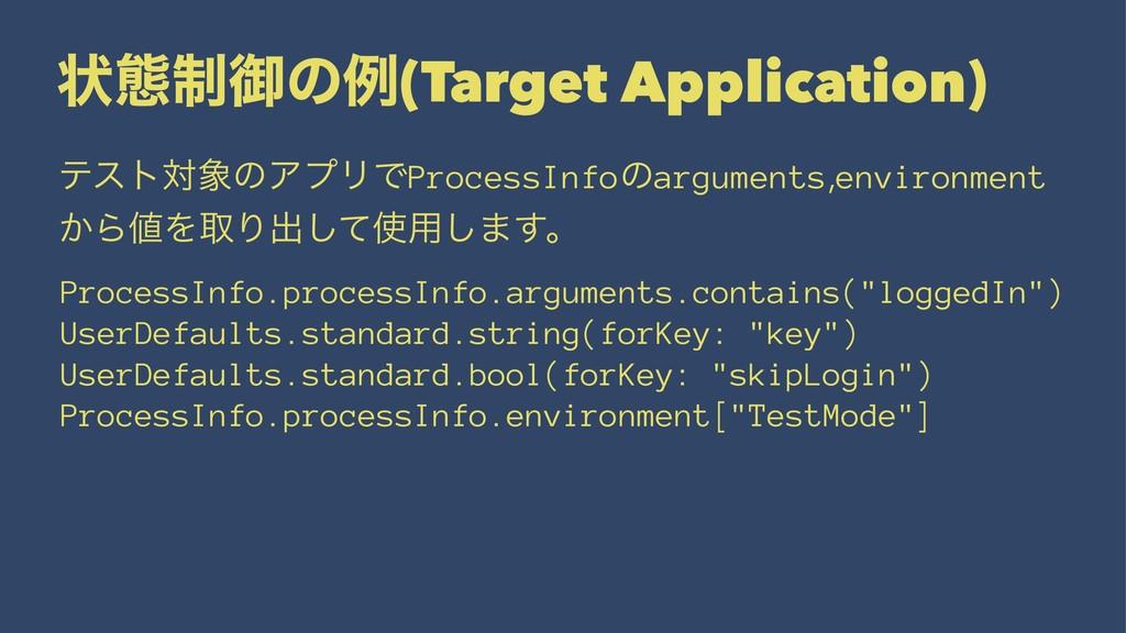 ঢ়ଶ੍ޚͷྫ(Target Application) ςετରͷΞϓϦͰProcessInf...