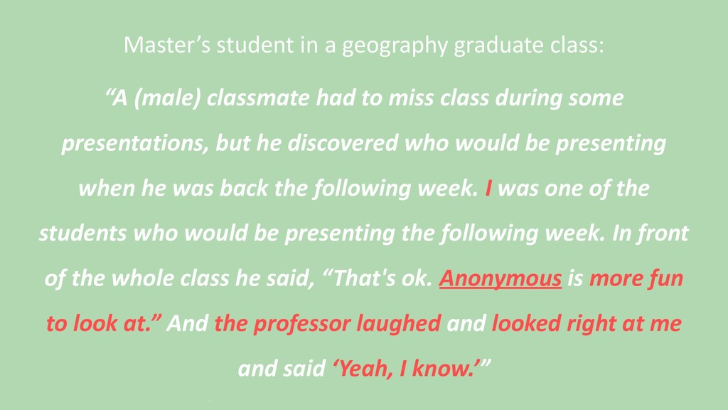 Master's student in a geography graduate class:...