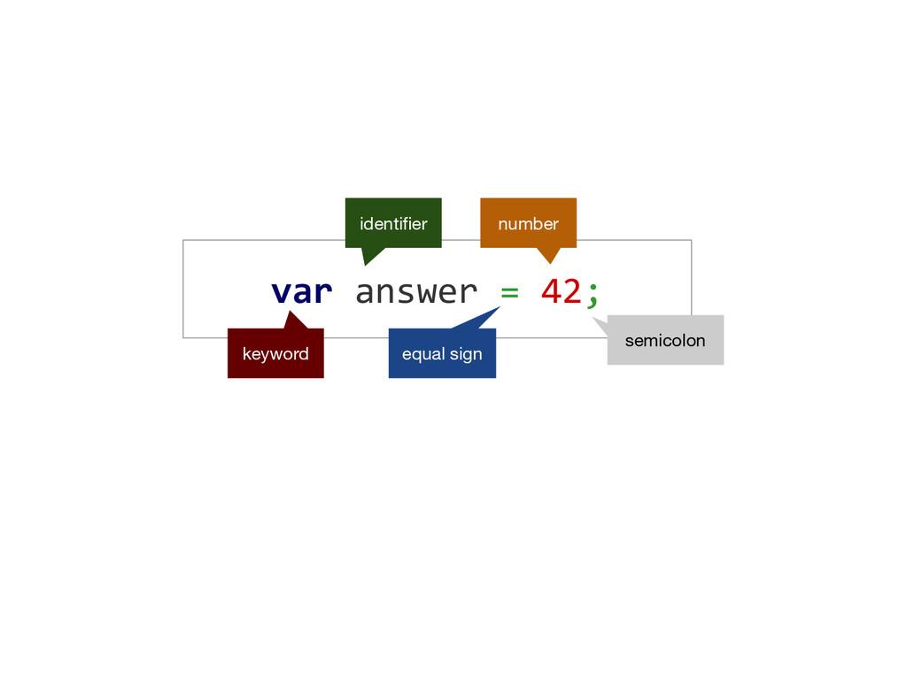 var answer = 42; keyword identifier equal sign ...