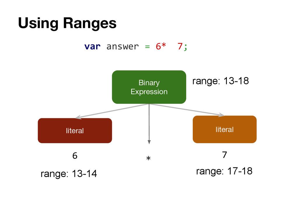 Using Ranges literal literal 6 7 var answer = 6...