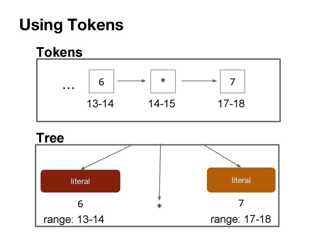 Using Tokens literal literal 6 7 * range: 13-14...