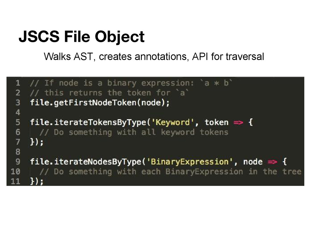 JSCS File Object Walks AST, creates annotations...