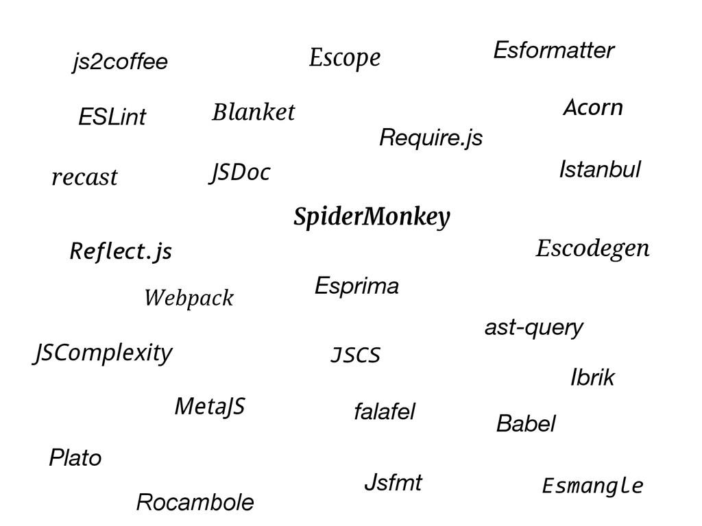 SpiderMonkey Reflect.js Esprima Escodegen Escop...