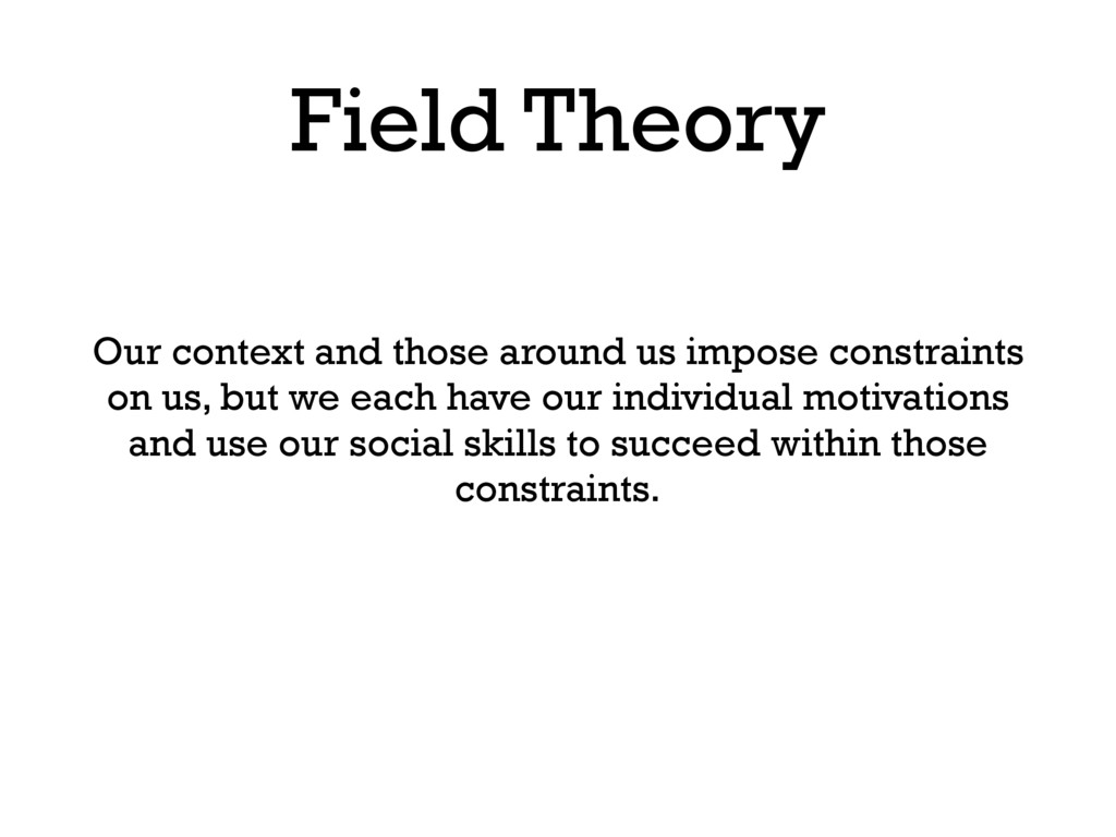 Field Theory Our context and those around us im...