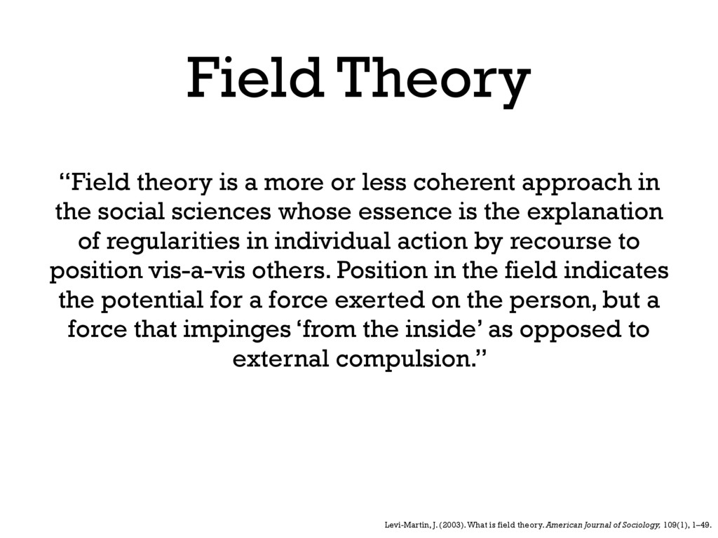 """Field Theory """"Field theory is a more or less co..."""