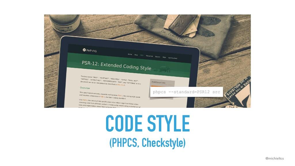 @michieltcs phpcs --standard=PSR12 src CODE STY...