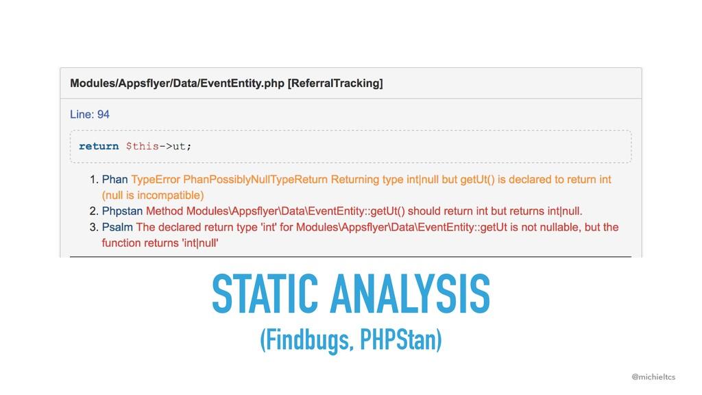 @michieltcs STATIC ANALYSIS (Findbugs, PHPStan)