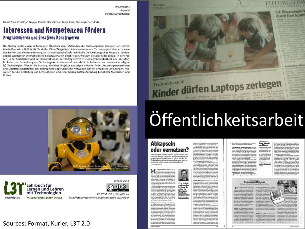 Öffentlichkeitsarbeit Sources: Format, Kurier, ...