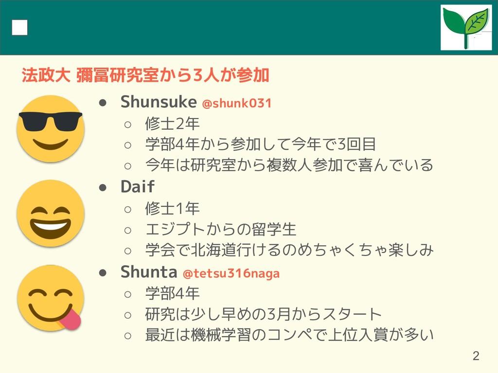 ● Shunsuke @shunk031 ○ 修士2年 ○ 学部4年から参加して今年で3回目 ...