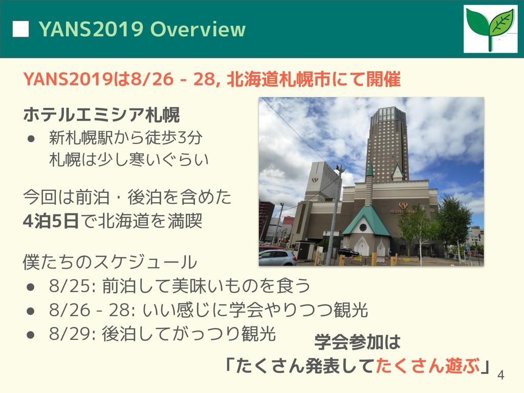 YANS2019 Overview YANS2019は8/26 - 28, 北海道札幌市にて開...