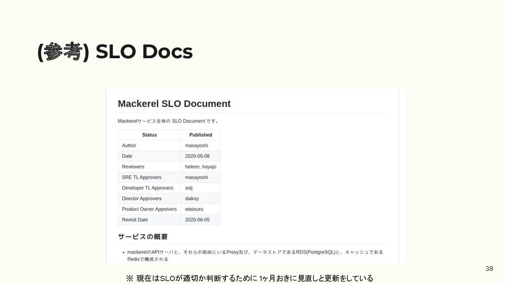38 (参考) SLO Docs ※ 現在はSLOが適切か判断するために 1ヶ月おきに見直しと...