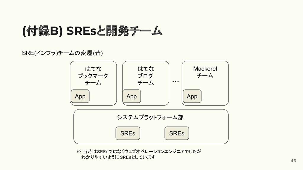 46 (付録B) SREsと開発チーム システムプラットフォーム部 はてな ブックマーク チー...