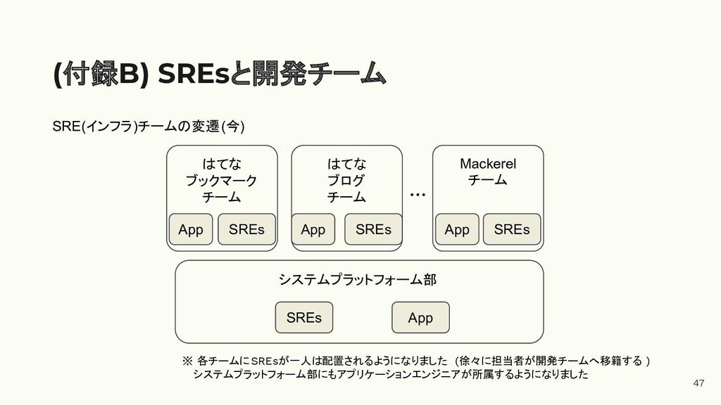 47 (付録B) SREsと開発チーム システムプラットフォーム部 はてな ブックマーク チー...