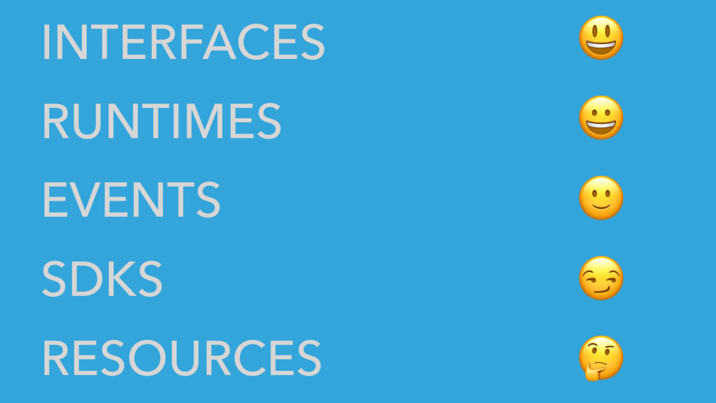 INTERFACES RUNTIMES EVENTS SDKS RESOURCES