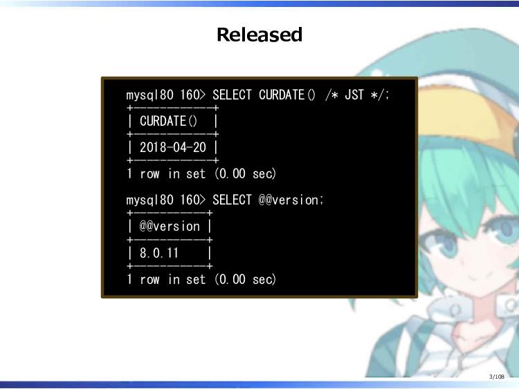 Released mysql80 160> SELECT CURDATE() /* JST *...