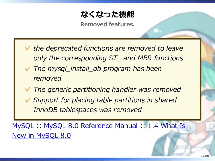 なくなった機能 Removed features. the deprecated functi...