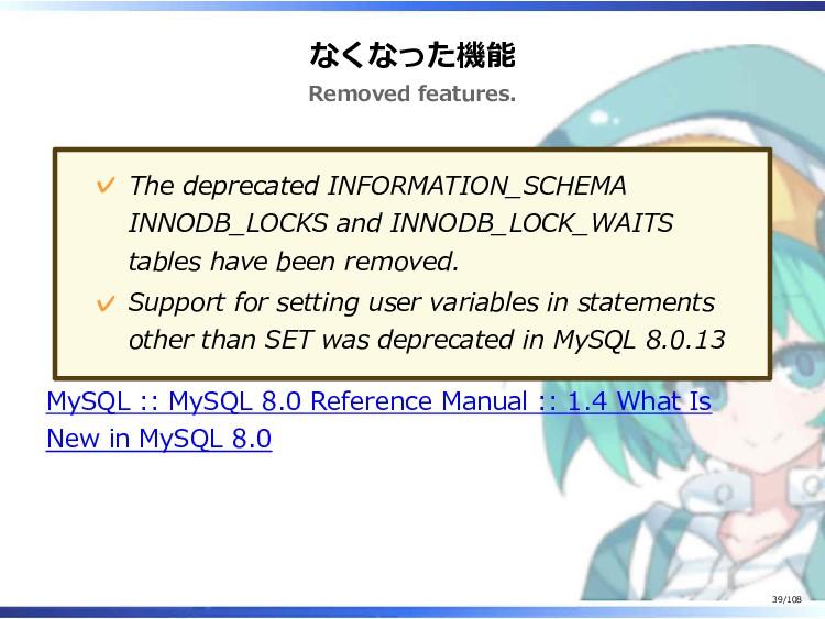 なくなった機能 Removed features. The deprecated INFORM...