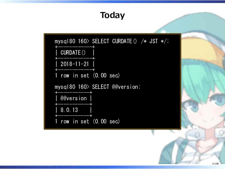 Today mysql80 160> SELECT CURDATE() /* JST */; ...