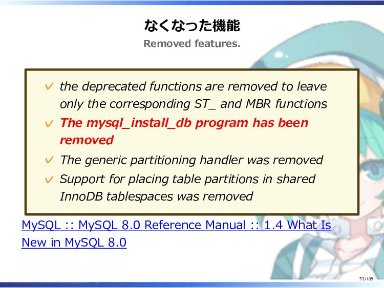 なくなった機能 Removed features. the deprecated functi...