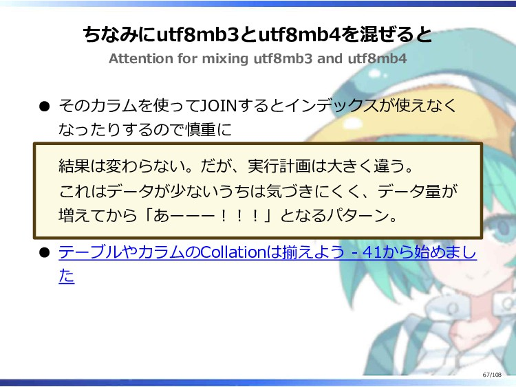 ちなみにutf8mb3とutf8mb4を混ぜると Attention for mixing u...