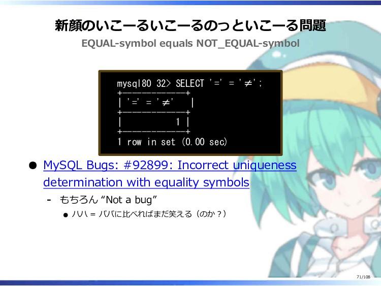 新顔のいこーるいこーるのっといこーる問題 EQUAL-symbol equals NOT_EQ...