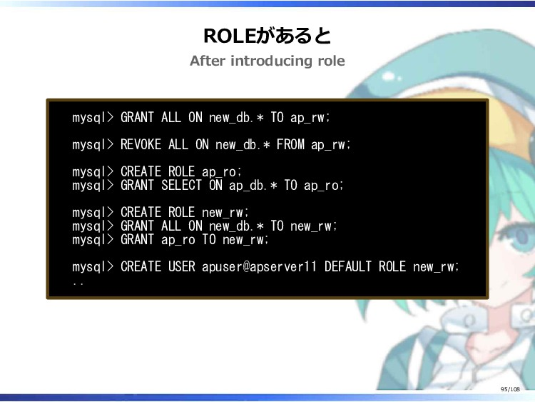 ROLEがあると After introducing role mysql> GRANT AL...