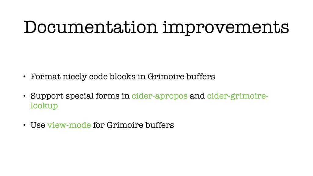 Documentation improvements • Format nicely code...