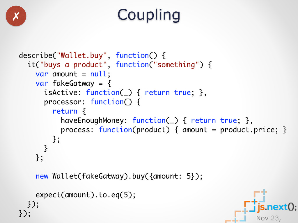 "Nov 23, Coupling describe(""Wallet.buy"", functio..."