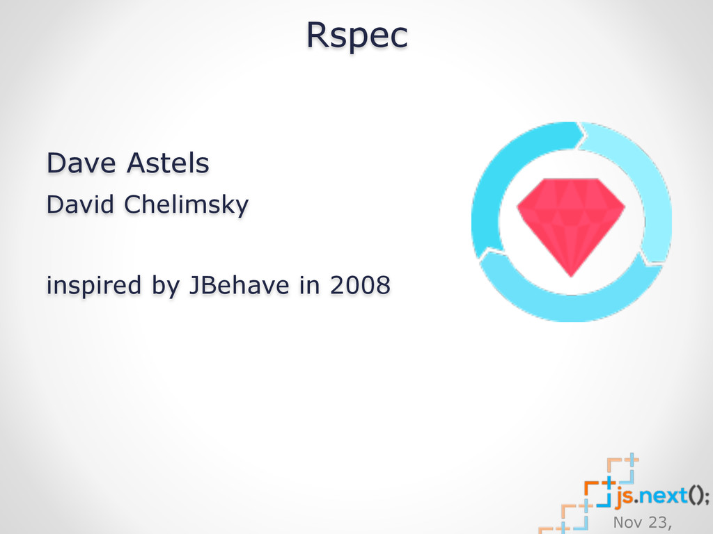 Nov 23, Rspec Dave Astels David Chelimsky
