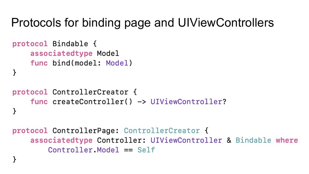 Protocols for binding page and UIViewControllers