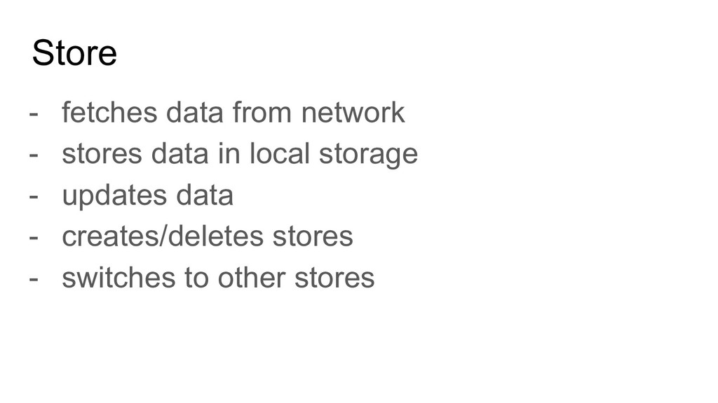 Store - fetches data from network - stores data...