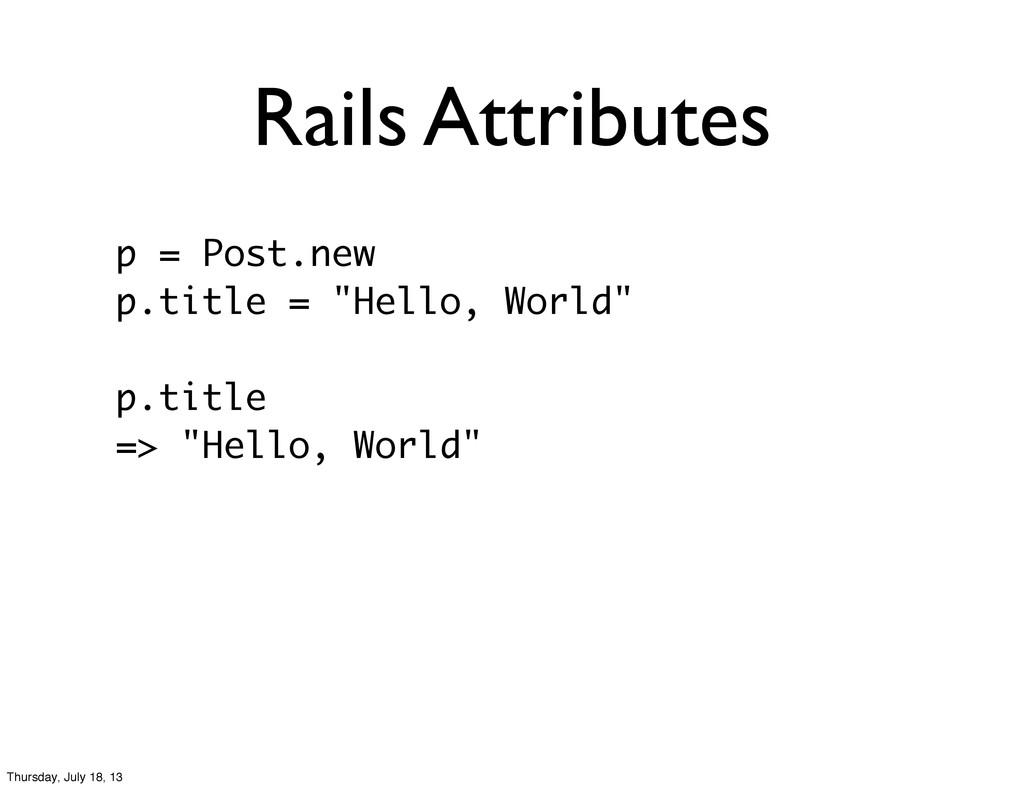 """Rails Attributes p = Post.new p.title = """"Hello,..."""