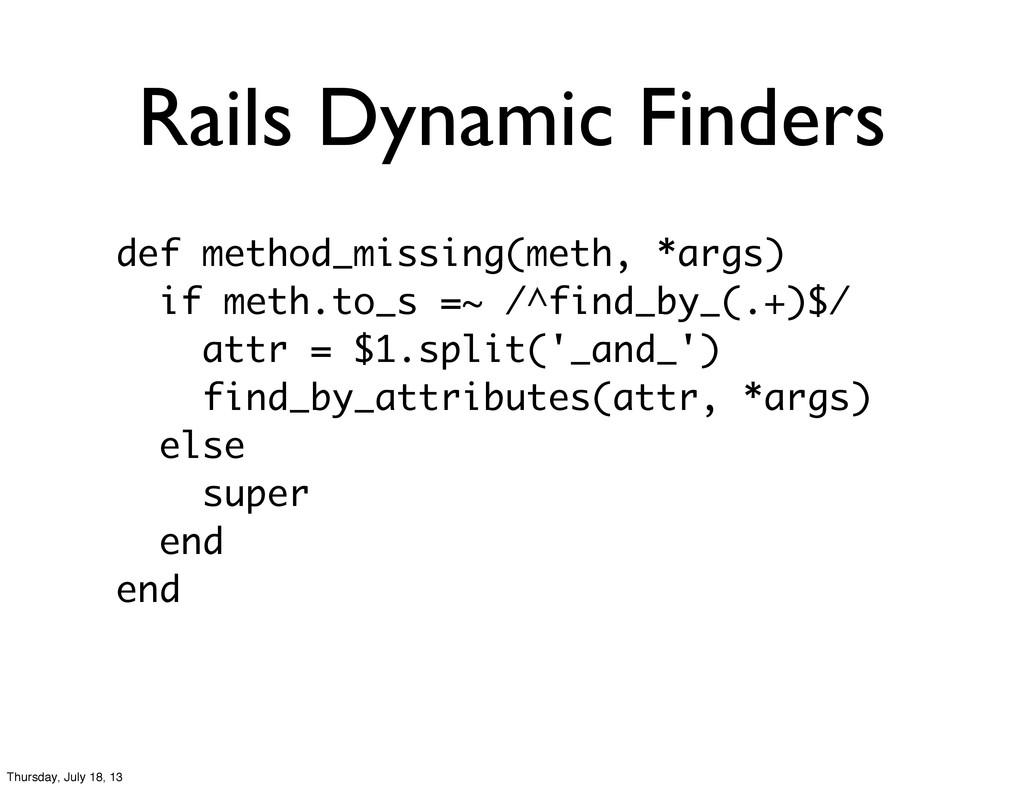 Rails Dynamic Finders def method_missing(meth, ...