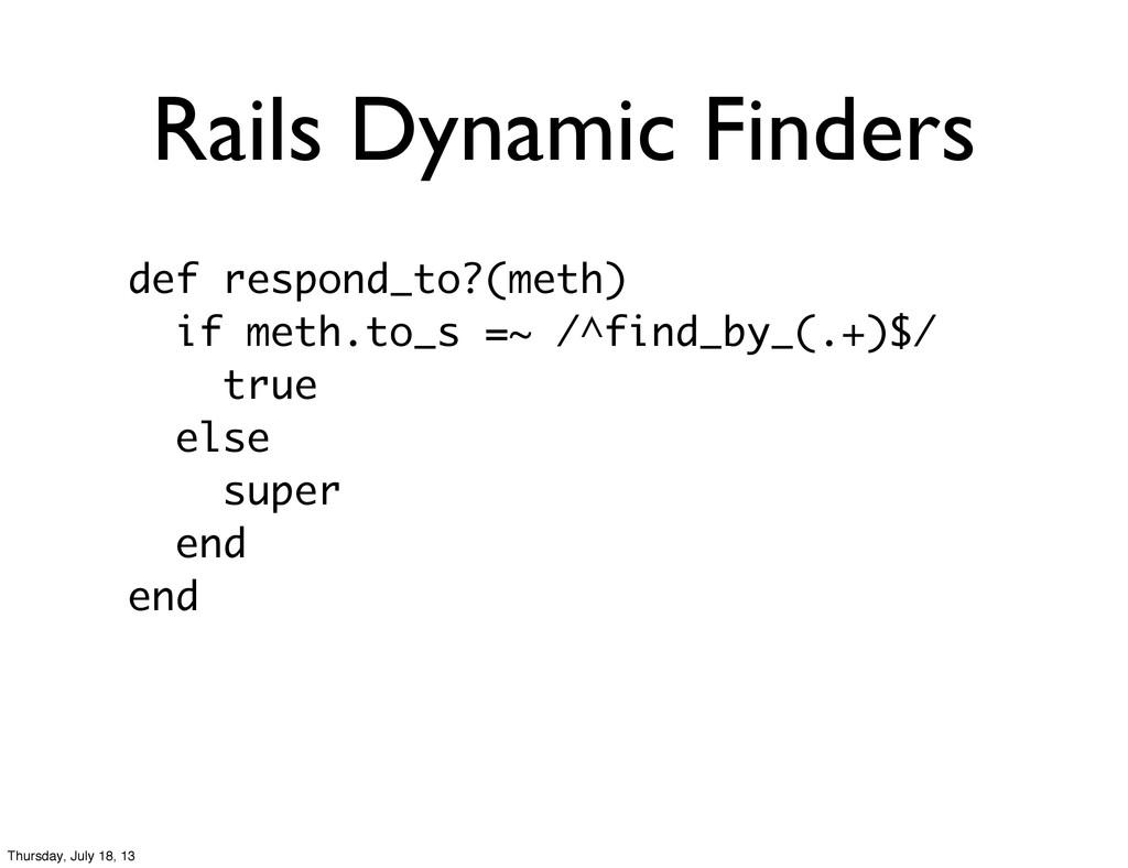 Rails Dynamic Finders def respond_to?(meth) if ...