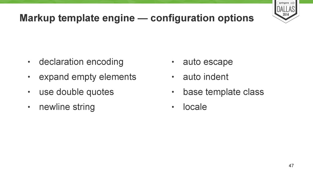 Markup template engine — configuration options ...