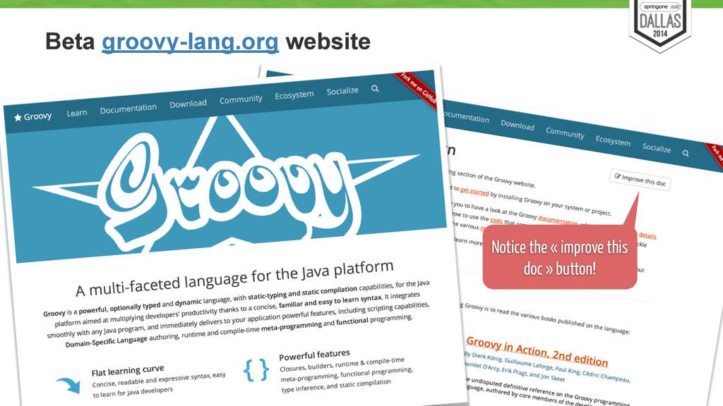 Beta groovy-lang.org website 55 Notice the « im...