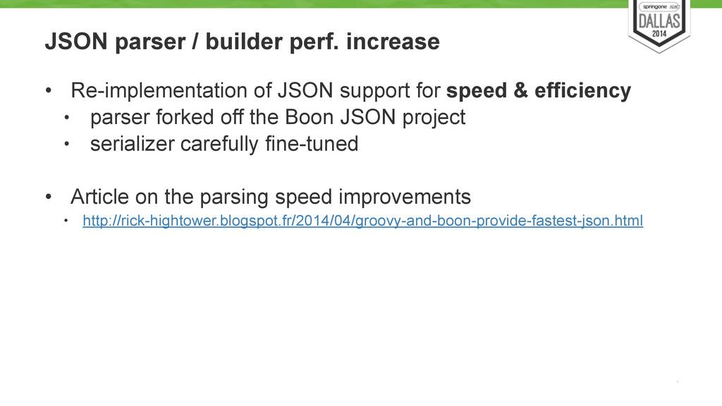 JSON parser / builder perf. increase • Re-imple...