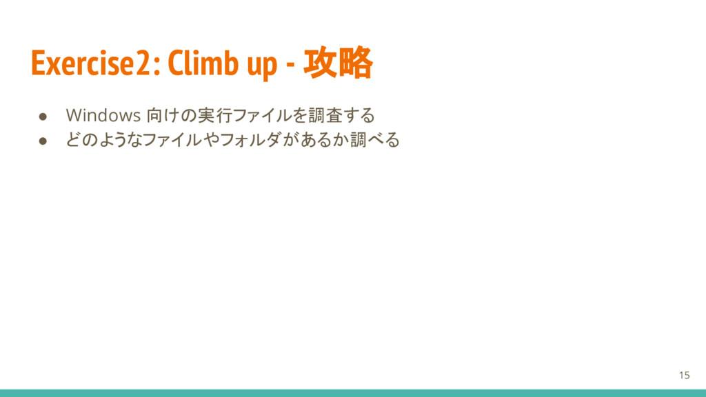 Exercise2: Climb up - 攻略 ● Windows 向けの実行ファイルを調査...
