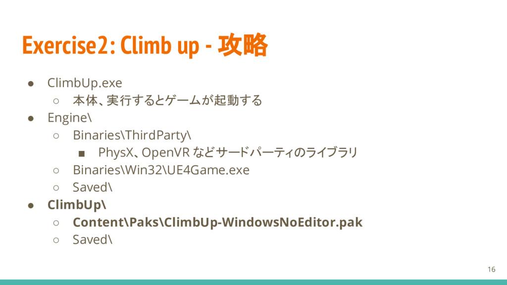 Exercise2: Climb up - 攻略 ● ClimbUp.exe ○ 本体、実行す...