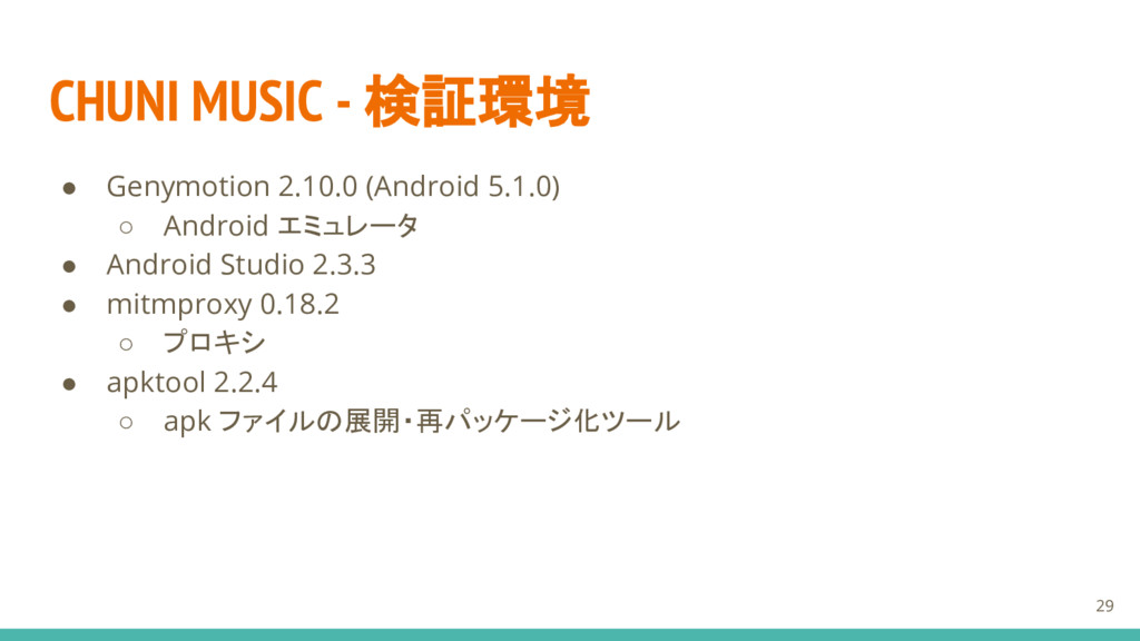 CHUNI MUSIC - 検証環境 ● Genymotion 2.10.0 (Android...