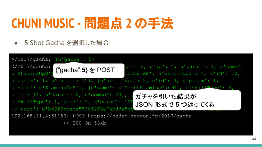 CHUNI MUSIC - 問題点 2 の手法 ● 5 Shot Gacha を選択した場合 ...