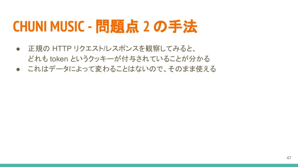 CHUNI MUSIC - 問題点 2 の手法 ● 正規の HTTP リクエスト/レスポンスを...