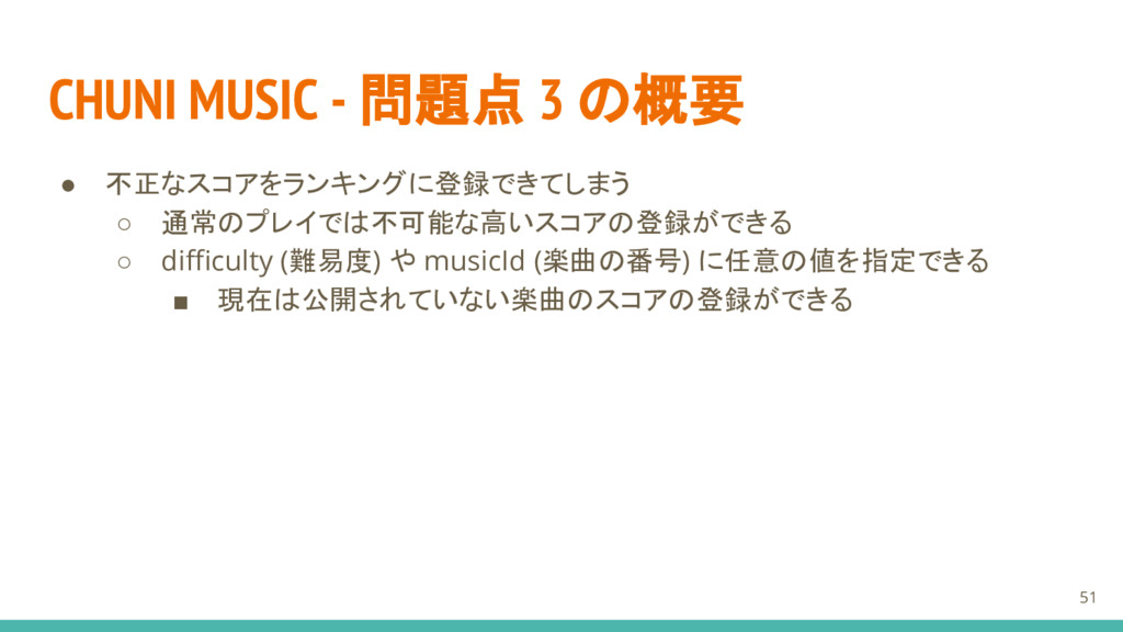 CHUNI MUSIC - 問題点 3 の概要 ● 不正なスコアをランキングに登録できてしまう...