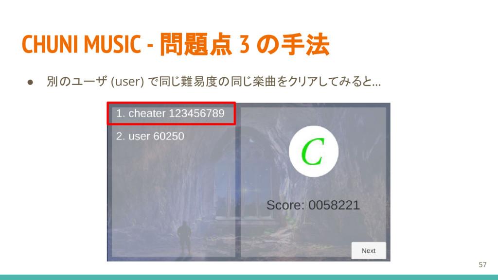 CHUNI MUSIC - 問題点 3 の手法 ● 別のユーザ (user) で同じ難易度の同...