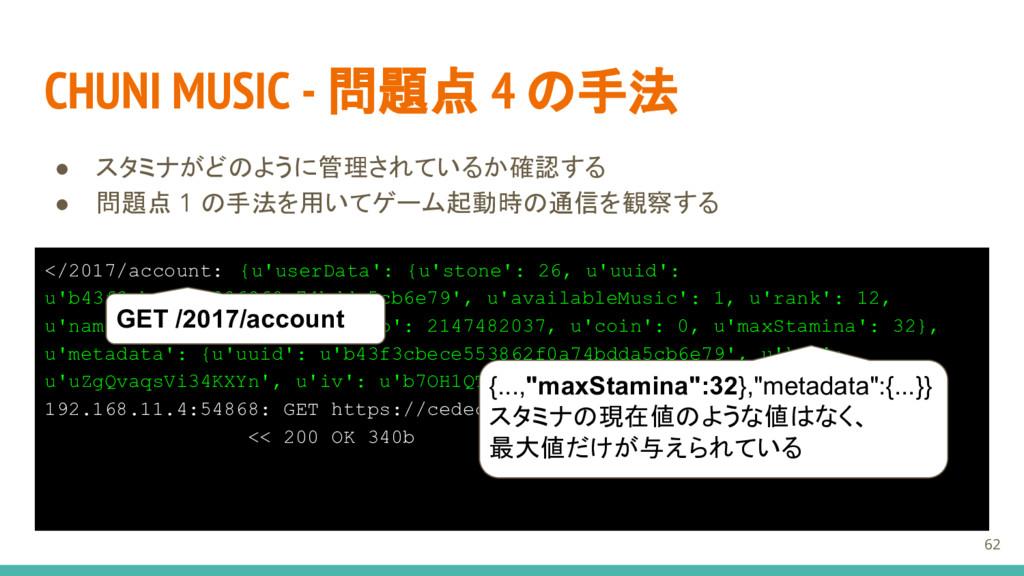 CHUNI MUSIC - 問題点 4 の手法 ● スタミナがどのように管理されているか確認す...
