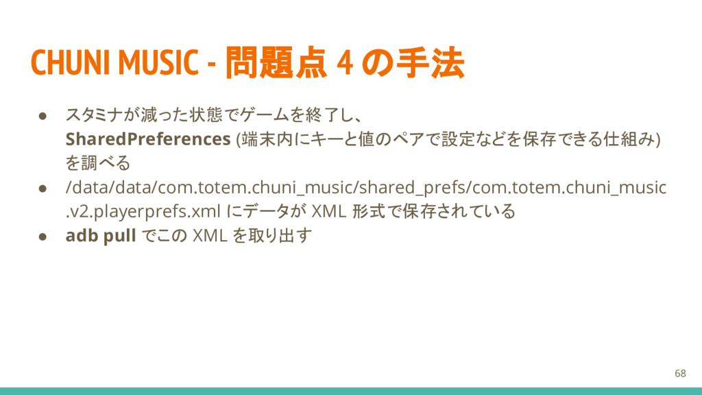 CHUNI MUSIC - 問題点 4 の手法 ● スタミナが減った状態でゲームを終了し、 S...