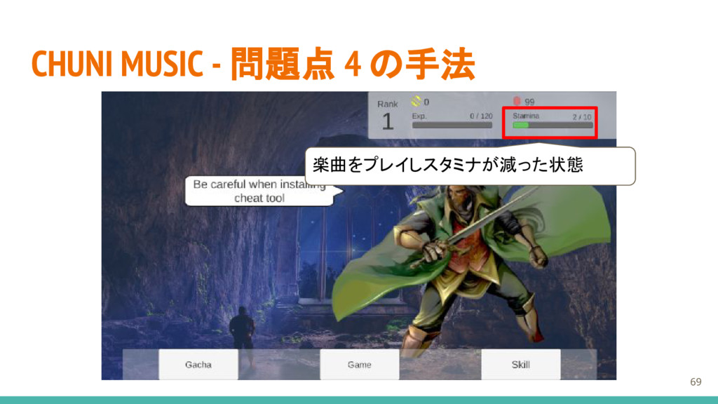 CHUNI MUSIC - 問題点 4 の手法 楽曲をプレイしスタミナが減った状態 69
