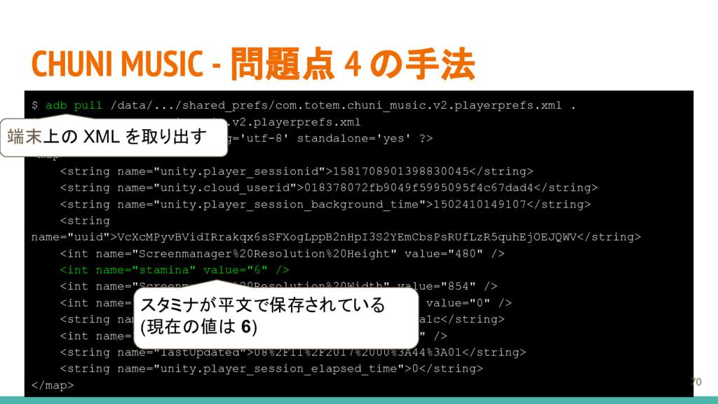 CHUNI MUSIC - 問題点 4 の手法 $ adb pull /data/.../sh...