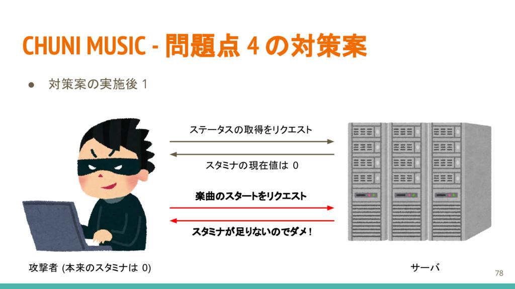 CHUNI MUSIC - 問題点 4 の対策案 ● 対策案の実施後 1 攻撃者 (本来のスタ...